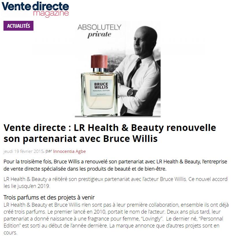 Février 2015 - LR renouvelle son partenariat avec Bruce Willis