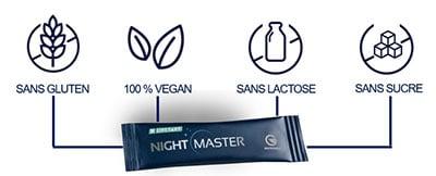 Night Master le complément alimentaire Sain & naturel - Sans Gluten - ni Lactose & Végane